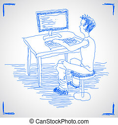 Man working with computer - Hand drawn vector illustration...