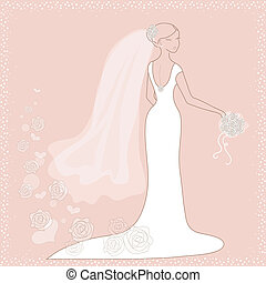 Bride on pink background - Beautiful wedding card with bride...