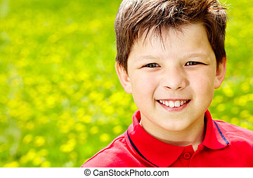 Boy - Close-up portrait of happy boy outside