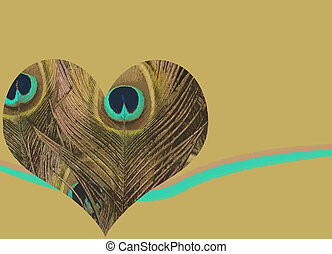 Peacock feather heart - Heart background with textured heart...