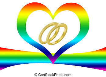 Gay marriage - Two wedding rings, a rainbow and a heart to...