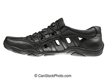 Black male shoe - Black male summer shoes, Isolated on white...