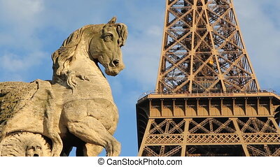 Eiffel Tower and Horse statue.