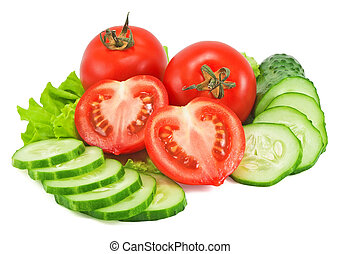 Tomatoes and cucumber with lettuce isolated on white...