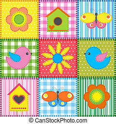 Patchwork with birdhouse - Patchwork with birds and...