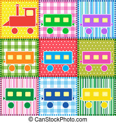 Patchwork with colorful train. Baby seamless background