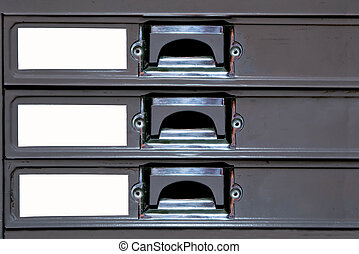 The Drawer steel of cabinet with blank label
