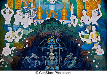 The Art of Giant and hell painting on wall. This is traditional and generic style in Thailand. No any trademark or restrict matter in this photo.
