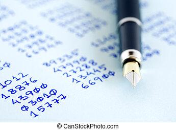 caneta, números