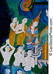 The Art of monk painting on wall. This is traditional and generic style in Thailand. No any trademark or restrict matter in this photo.