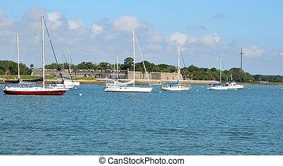 Moored Sailboats On Matanzas River - Sailboats moored on the...