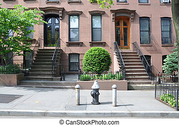 Brownstone Homes Entrances - Brownstone homes fire hydrant...