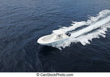 sport fishing boat - Sport fisihng boat in Atlantic Ocean...