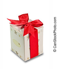 The Red ribbon with gift box isolated on white background