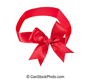 The Red ribbon isolated on white background