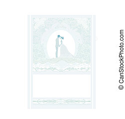 elegant wedding invitation card with wedding couple
