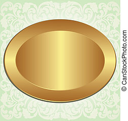 gold oval frame on background with floral ornaments