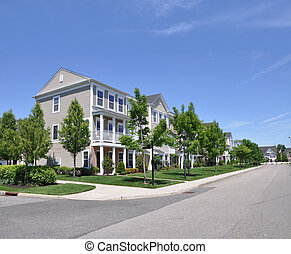 Suburban Neighborhood Street Condos - Condominiums Suburban...
