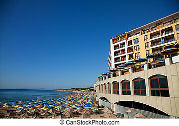Empty hotel beach, Bulgaria, Old Nessebar