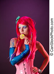 Bright girl with pink hair holding lollipop - Bright girl...