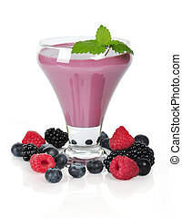 Berry smoothie with blueberry, blackberry, raspberry and...