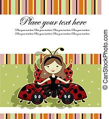 Beautiful girl and ladybugs