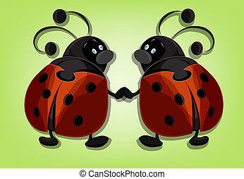 Two ridiculous ladybugs on a green background