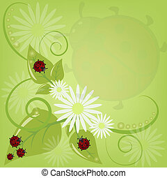 card with ladybugs and camomiles - Beautiful card with...