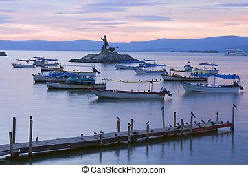 Lake Chapala Islet and Pier - Lake Chapala Islet with Jesus...