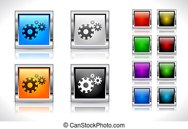 Buttons for web Vector - Color metal square buttons for web...