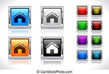Buttons for web. Vector. - Color metal square buttons for...