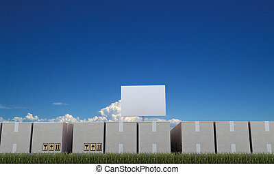 cardboard boxes with blank billboard