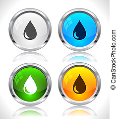Metal web buttons Vector eps10 - Cool color shiny metal web...