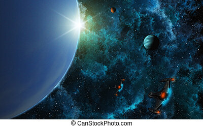 Starships in Deep Space - This image shows planets with...
