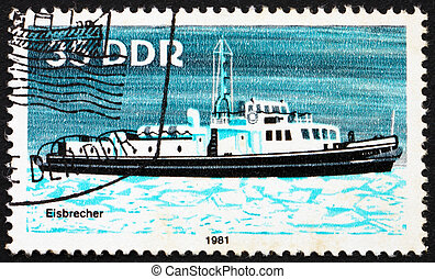 Postage stamp GDR 1981 Ice Breaker, River Boat - GDR - CIRCA...