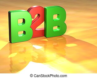 Word B2B on yellow background higj resolution 3D image