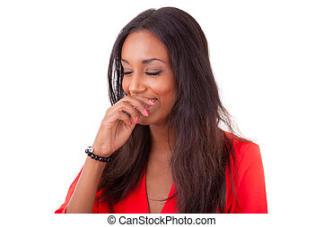 Beautiful young black woman laughing