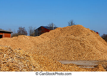 Wood chips - Large Sawdust stacks at the factory