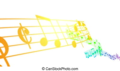 Colored Music notes in 3d. HD. Loop - Music notes flowing in...