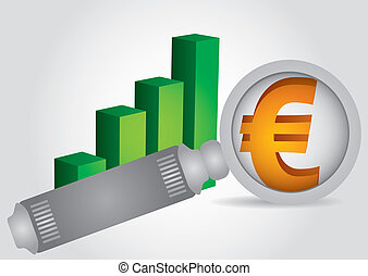 Euro sign - financial concept with graph and magnifying...