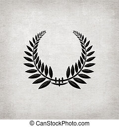Black Laurel Wreath - Elegant laurel wreath on textured...