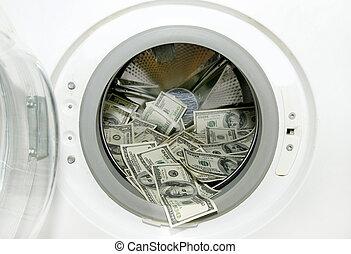 Washing machine and dollars - washing machine and wash paper...