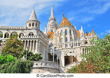Budapest Fishermans Bastion and St Matthias church -...