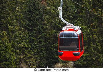 funicular with a red cable car