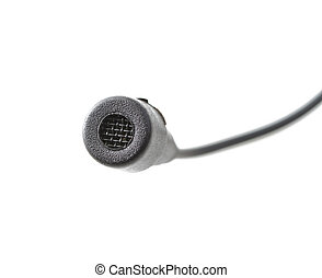 Microphone - Black microphone with wire over white...