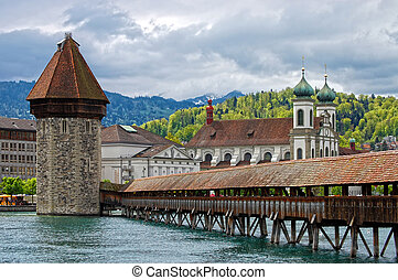 Panoramic view of Chapel Bridge, famous covered wooden...