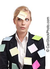 Blonde businesswoman with colored stickers on her face -...