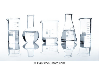 Group of flasks containing clear liquid isolated on white...