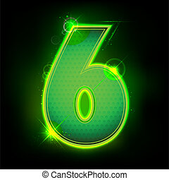 Glowing Number Six - illustration of glowing number six on...