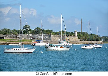 Moored Sailboats - Moored sailboats on the Matanzas River at...